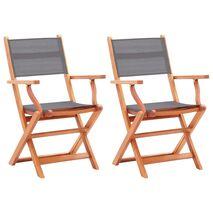 vidaXL Καρέκλες Κήπου Πτυσσόμ. 2 τεμ. Γκρι Ξύλο Ευκαλύπτου/Textilene