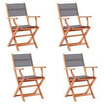 vidaXL Καρέκλες Κήπου Πτυσσόμ. 4 τεμ. Γκρι Ξύλο Ευκαλύπτου/Textilene