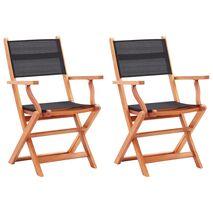 vidaXL Καρέκλες Κήπου Πτυσσόμ. 2 τεμ. Μαύρες Ξύλο Ευκαλύπτου/Textilene