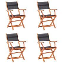vidaXL Καρέκλες Κήπου Πτυσσόμ. 4 τεμ. Μαύρες Ξύλο Ευκαλύπτου/Textilene