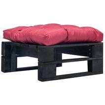 vidaXL Κάθισμα Κήπου από Παλέτες Μαύρο Ξύλινο με Κόκκινο Μαξιλάρι