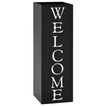 vidaXL Ομπρελοθήκη με Σχέδιο «Welcome» Μαύρη Ατσάλινη