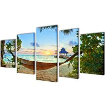 Πίνακας σε Καμβά Σετ Αμμώδης Παραλία με Αιώρα 200 x 100 εκ.