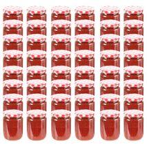 vidaXL Βάζα Μαρμελάδας 48 τεμ. 230 ml Γυάλινα με Κόκκινα/Λευκά Καπάκια
