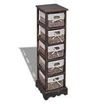 vidaXL Συρταριέρα με 5 Πλεκτά Καλάθια Καφέ Ξύλινη