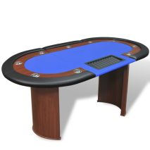 vidaXL Τραπέζι Πόκερ 10 Ατόμων με Θέση Dealer και Θήκη για Μάρκες Μπλε