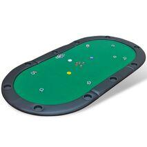 vidaXL Επιφάνεια Τραπεζιού Πόκερ 10 Ατόμων Αναδιπλούμενη Πράσινη