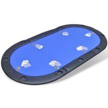 vidaXL Επιφάνεια Τραπεζιού Πόκερ 10 Ατόμων Αναδιπλούμενη Μπλε