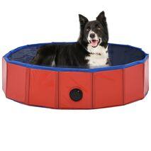 vidaXL Πισίνα για Σκύλους Πτυσσόμενη Κόκκινη 80 x 20 εκ. από PVC