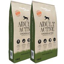vidaXL Ξηρά Τροφή Σκύλων Premium Adult Active Chicken & Fish 2τεμ 30 κ