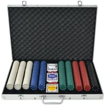 vidaXL Σετ Πόκερ με 1000 Μάρκες από Αλουμίνιο